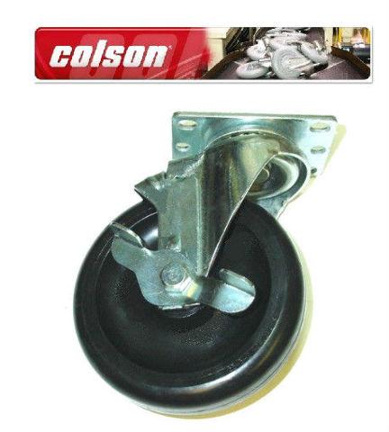 "Colson Swivel Plate Caster w 5"" x 1-1/4"" Black Polyolefin Wheel 300# Cap & Brake"