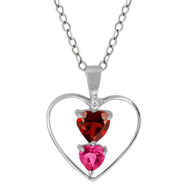0.94 Ct Heart Shape Red Garnet Pink Mystic Topaz 14K White Gold Pendant by