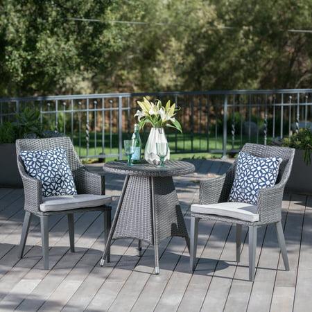 Hillsdale Outdoor 3 Piece Wicker Round Bistro Set with Cushions, Grey ()