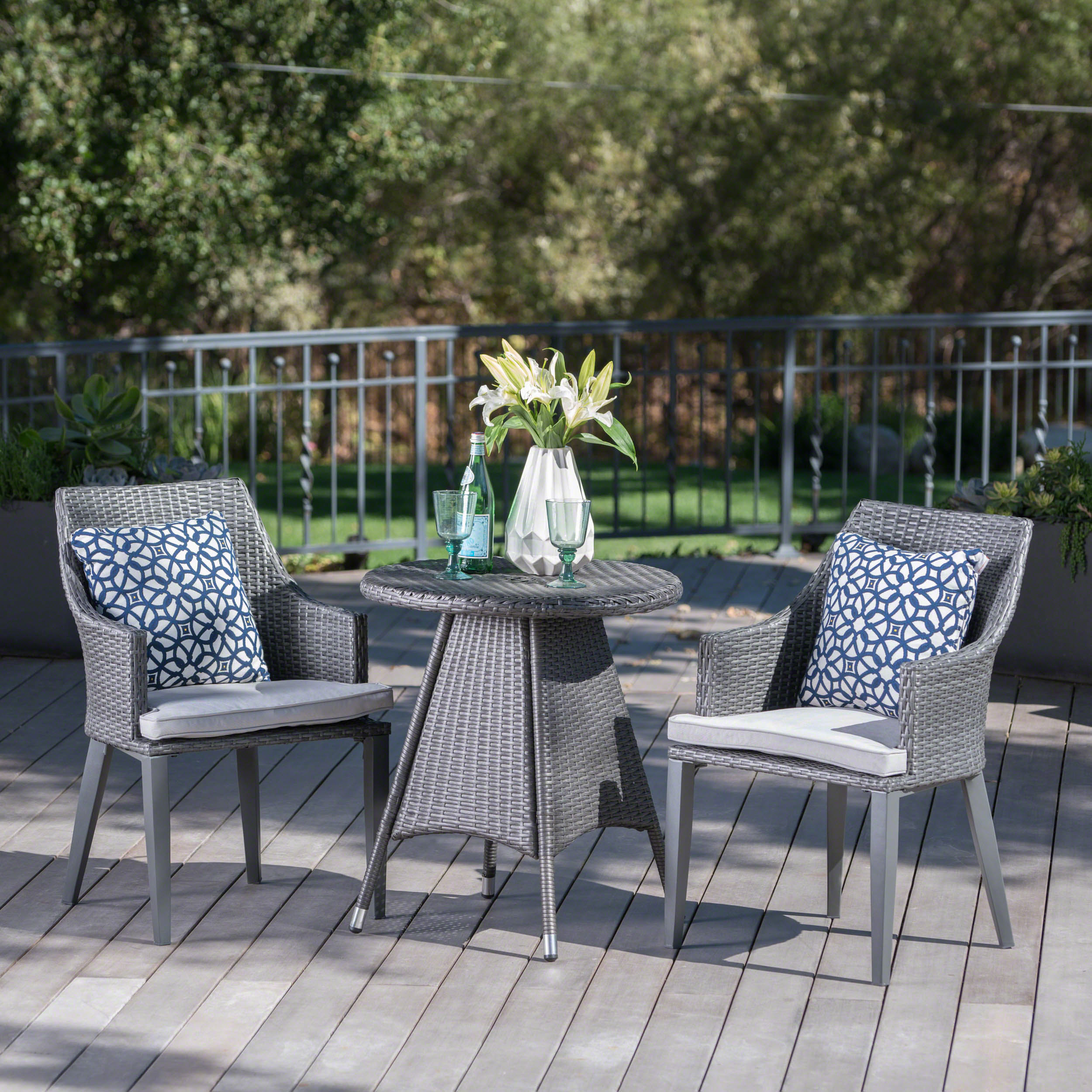 Hillsdale Outdoor 3 Piece Wicker Round Bistro Set with Cushions, Grey