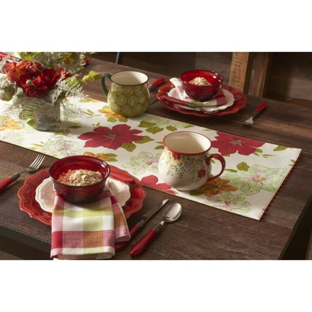The Pioneer Woman Poinsettia Reversible Runner With Ric Rac Trim