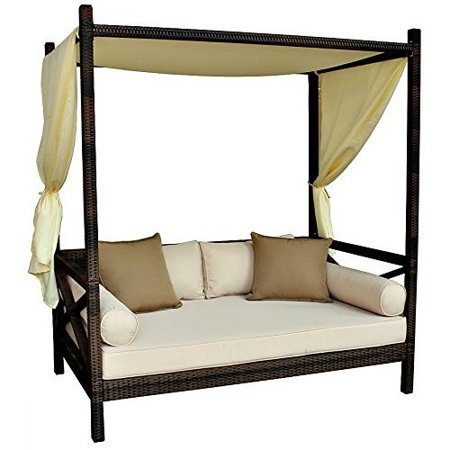 Outdoor Bali Style Sun Day Bed Cushion Lounger Sofa with Canopy and Pillows  - Patio - Deck - Lawn - PE Wicker Rattan