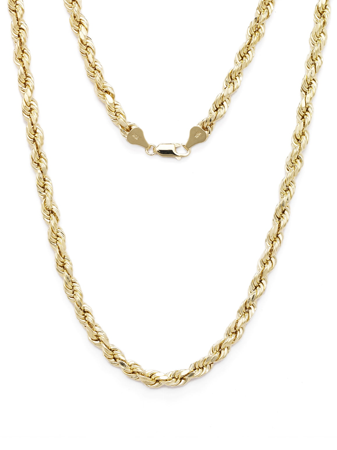 10k Yellow Gold Diamond Cut Hollow Rope Chain Necklace with Lobster Claw Clasp for Men & Women, 2mm by Glad Gold