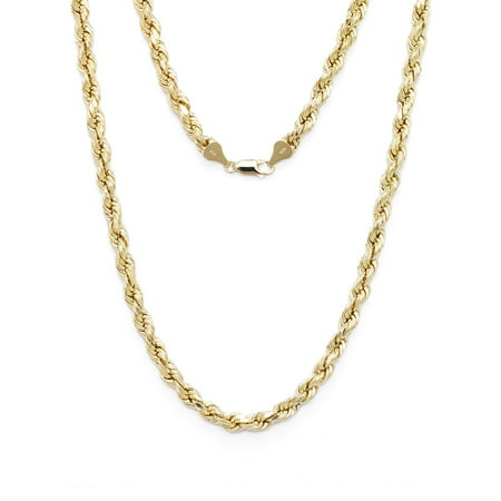 Hope Diamond Necklace - 10k Yellow Gold Diamond Cut Hollow Rope Chain Necklace with Lobster Claw Clasp for Men & Women, 2mm