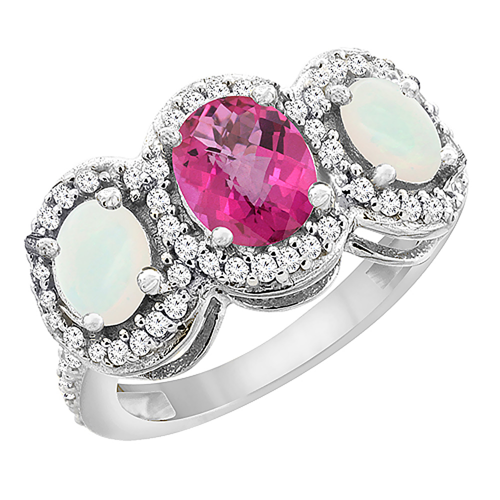 14K White Gold Natural Pink Sapphire & Opal 3-Stone Ring ...