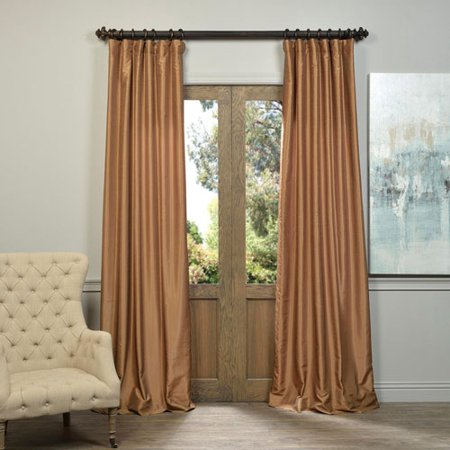 Flax Gold Vintage Textured Faux Dupioni Silk Single Panel Curtain, 50 X 84