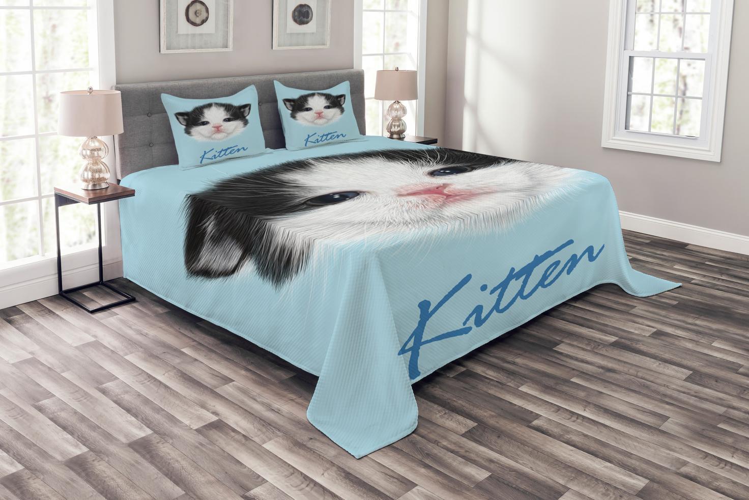Cartoon Bedspread Set, Portrait of Domestic Kitten Newborn Bicolor Furry Head Pink Wet Nose Artwork,... by Kozmos