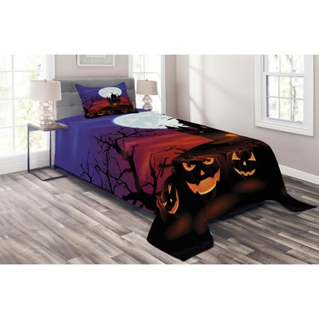 Halloween Bedding Sets Store (Halloween Coverlet Set, Gothic Haunted House Castle Hill Valley Night Sky October Festival Theme Print, Decorative Quilted Bedspread Set with Pillow Shams Included, Multicolor, by)