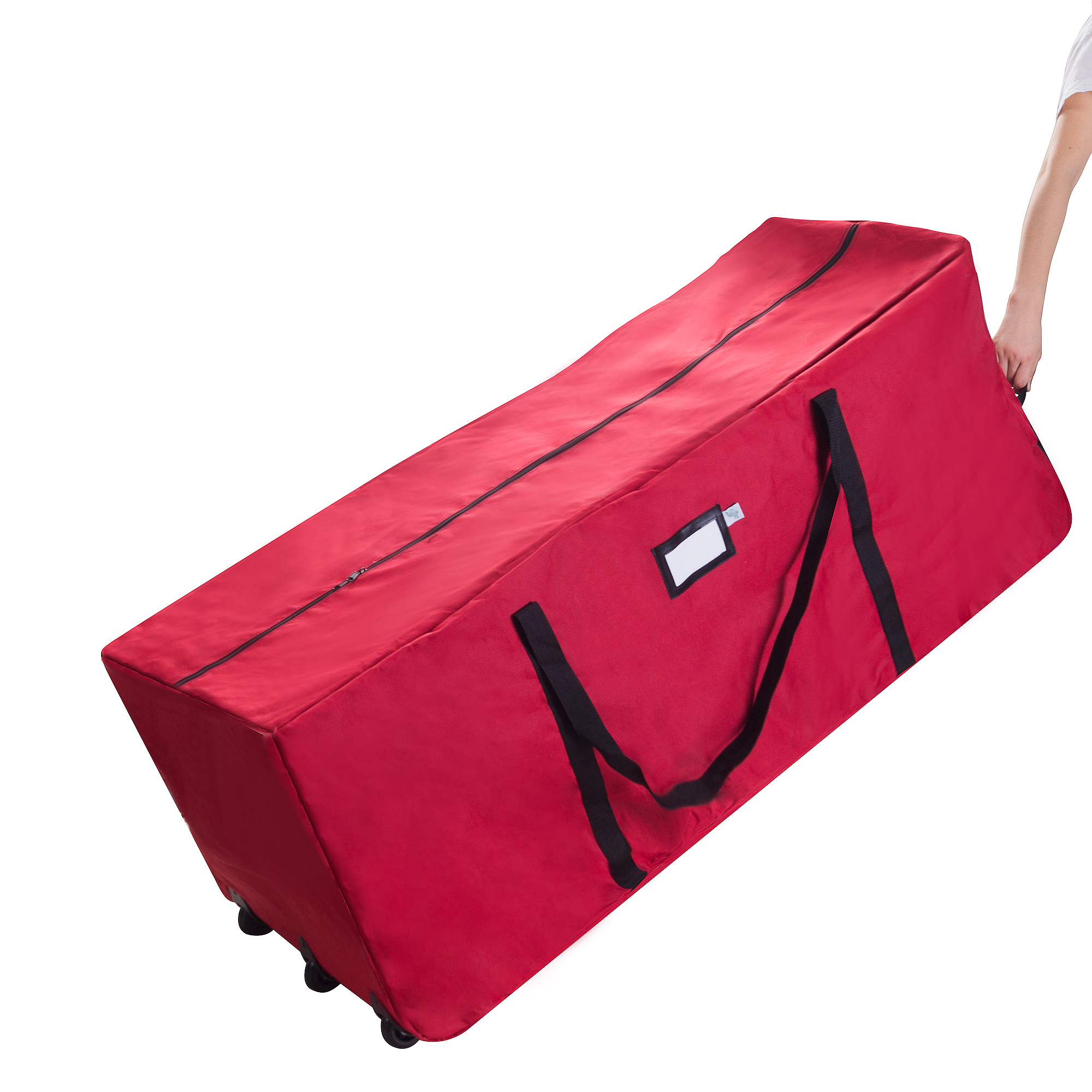 Elf Stor Premium Red Rolling Christmas Tree Storage Duffel Bag for 12 Ft Tree
