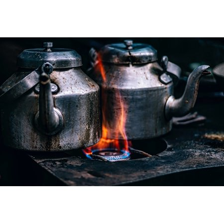 Framed Art for Your Wall Burners Teapots Pots Gas Heat Cook Stove Flame 10x13 Frame ()