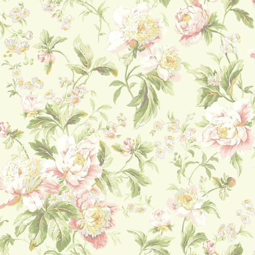 Waverly Classics Forever Yours Wallpaper, Cream/Pale Pink/Peachy Pink/White/Amber/Light Gray/Mint/Grass Green