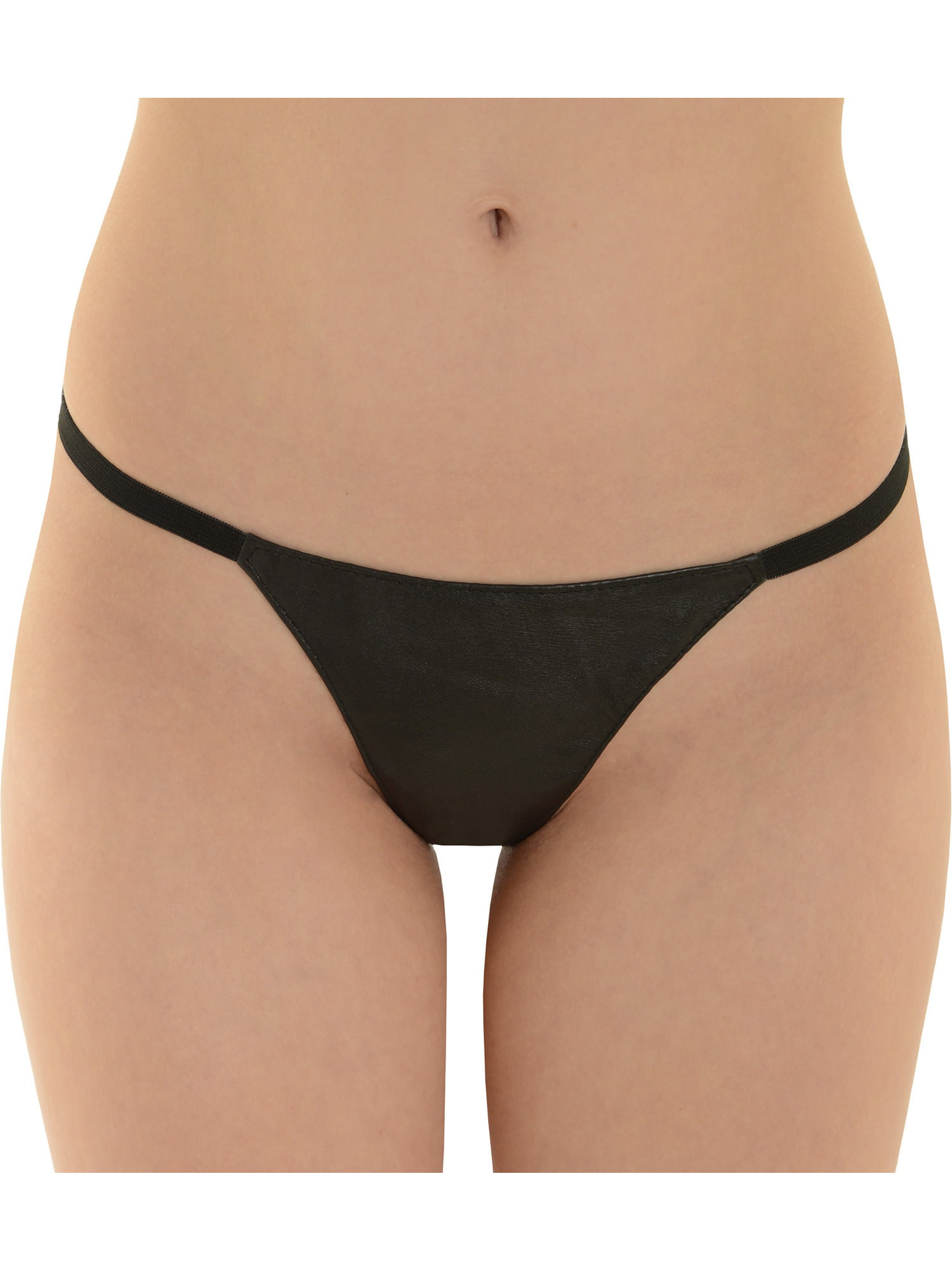 Womens Black Leather g-String Panty Underwear 1 Size Sexy Fetish Thong Gift