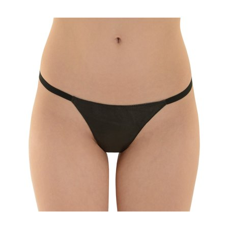 Womens Black Leather g-String Panty Underwear 1 Size Sexy Fetish Thong Gift (Minnetonka Leather Thongs)