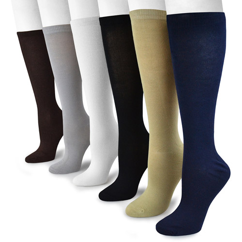 MUK LUKS Women's 6 Pair Pack Rayon from Bamboo Under the Knee Socks