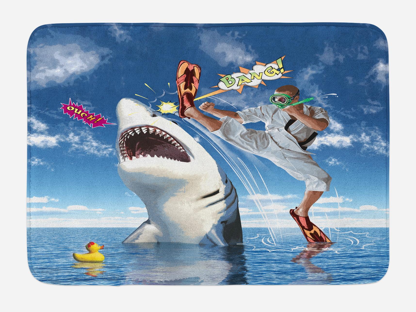 Sealife Bath Mat, Unusual Marine Navy Life Animals Fish Sharks with Karate Kid and Comics... by 3decor llc