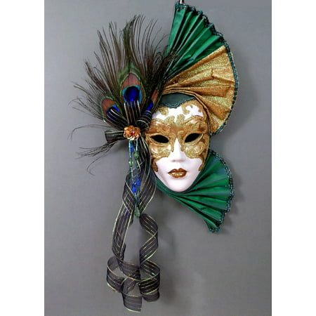 LAMINATED POSTER Wall Mystery Mask Green Feathers Color Face Poster Print 24 x 36