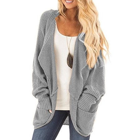 Open Front No Buttons Women Batsleeve Casual Knit Cardigan Sweater
