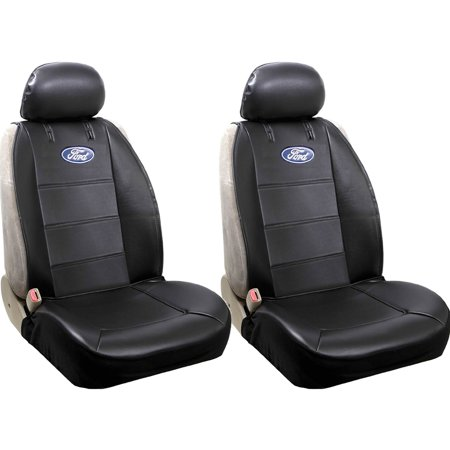 Official Licensed 2 Piece Synthetic Leather Sideless Seat Covers 2 Headrest Cover Car Truck SUV for Ford
