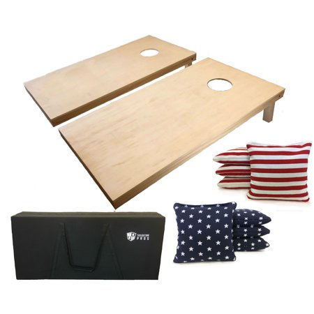 Tailgating Pros 4'x2' Cornhole Boards W Carrying Case and Stars Stripe flag Cornhole Bags