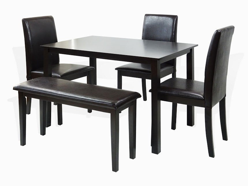 SK New Interiors Dining Kitchen Set Of 5 Rectangular Table And 3 Wood  Fallabella Chairs And
