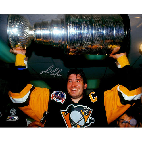 "Mario Lemieux Pittsburgh Penguins Autographed 16"" x 20"" Horizontal Stanley Cup Holding Photograph - Steiner Sports - No Size"