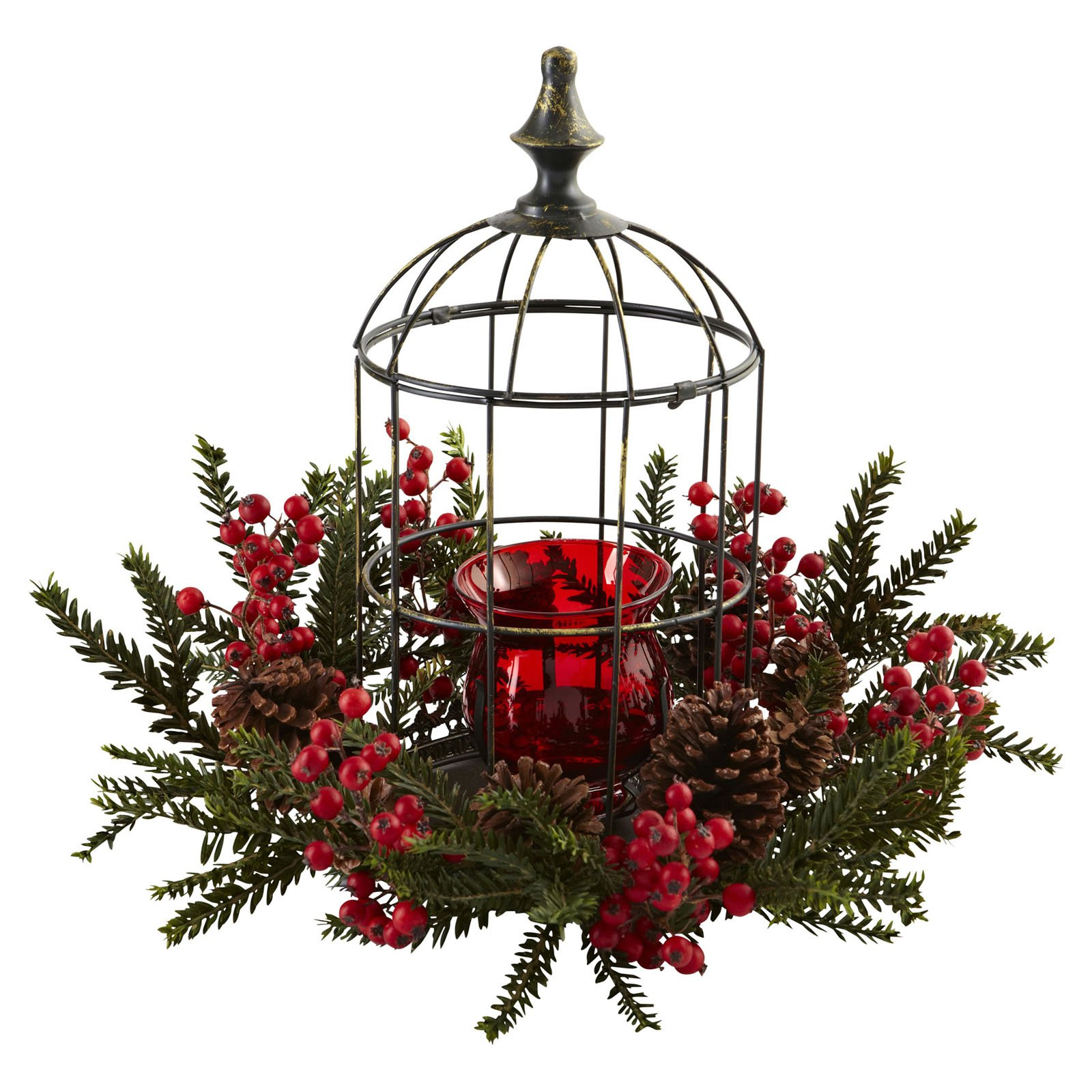 Nearly Natural Pine Berry Birdhouse Candelabrum
