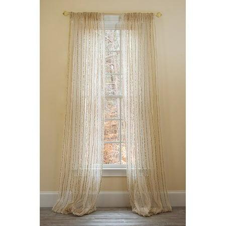 Manor Luxe Tafetta Stripe Sheer Rod pocket Single Curtain Panel
