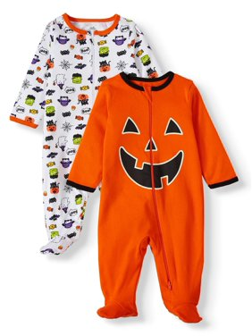 Halloween Baby Boy & Girl, Unisex Sleep 'N Play Pajamas, 2-Pack