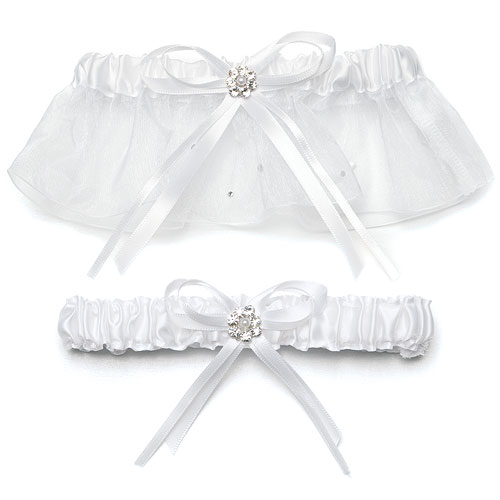 White Scattered Pearls and Crystal Wedding Garter Set