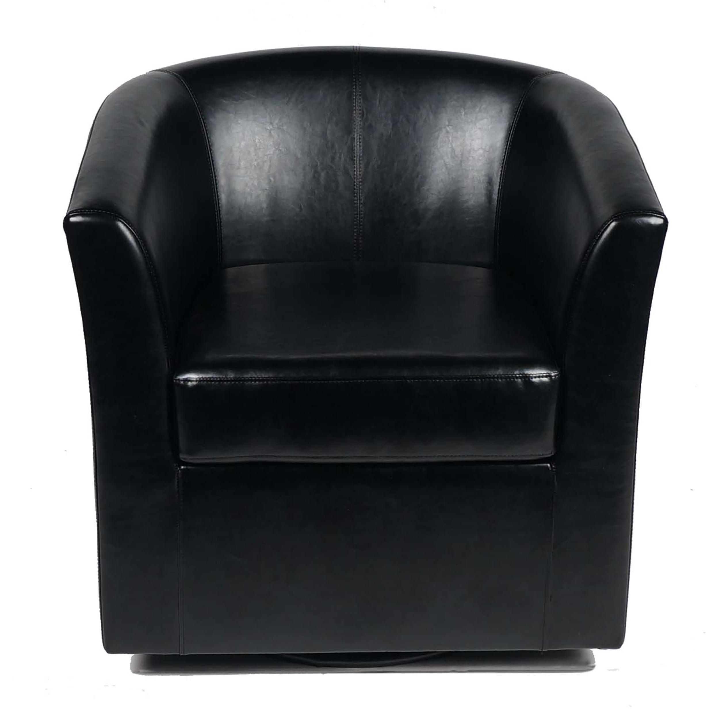 Corley Leather Swivel Club Chair, Black by GDF Studio