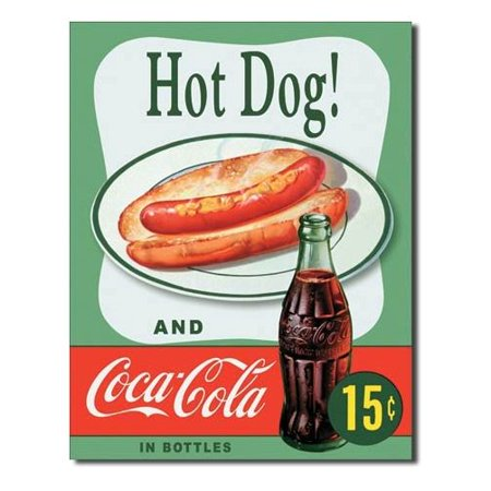 Hot Dog and Coca Cola Coke Combo 15 Cents Retro Vintage Tin Sign - 13x16, 13x16 Multi-Colored