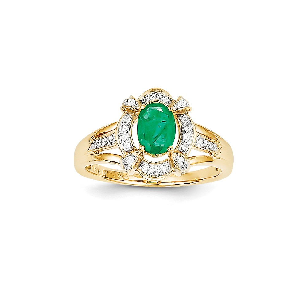14k Yellow Gold Diamond & Oval Emerald Gem. Ring