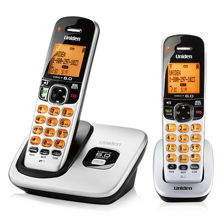 Uniden D1760-2 DECT 6.0 Cordless Phone System w/ Orange Backlit LCD