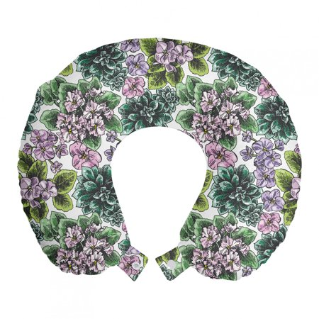 Floral Travel Pillow Neck Rest, Flowering Plants Gardening Violet Peonies Hydrangea Foliage Illustration, Memory Foam Traveling Accessory Airplane and Car, 12 , Multicolor, by Ambesonne Ambesonne Travel Pillow Neck Rest STANDARD SIZE - 12  Wide x 12  Long. U shape head support. Rest pillow with durable printed cover. MADE FROM - Soft & moldable viscoelastic memory foam. Sturdy and soft 100% polyester fabric cover. FEATURES - Breathable. Removable cover has a zipper closure. Easy to attach with snap fasteners. PORTABLE - Comfortable on a plane, bus, car, train or at home while watching TV, reading a book, napping. PRINTED - With state of the art digital printing technology. Long-lasting bold colors & clear image. Feel like at home even on the go! Feel the comfort and softness with this smart design memory foam travel pillow. Choose between thousands of different patterns for a more personalized look. This printed cover is machine washable so; you can have a fresh and clean pillow every journey. It can be quickly taken off and put on with zipper closure. Its comfortable and breathable. Use it in the car, plane, train or bus. Itll be your best traveling partner. With its snap fasteners, you can easily attach it to your luggage or backpack without taking much space. Besides traveling you can use it at home or office. Even a simple nap will be better with this relaxing head support. Dont miss the style while seeking for comfort. This pillow will give you both, surely. Catch the comfortable travel and lounging experiences with this versatile travel gear. The digital images we display have the most accurate color possible but due to differences in pc monitors, we cant be responsible for variations in color between the actual product and your screen.