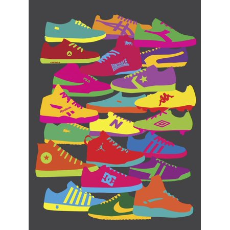 Sneakers Colorful Retro Shoes 90's Teen Room Print Wall Art By Yoni Alter