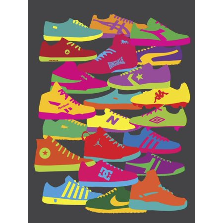 Sneakers Colorful Retro Shoes 90's Teen Room Print Wall Art By Yoni Alter (Soul Altered Art)