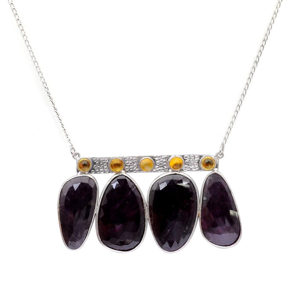 Orchid Jewelry 925 Sterling Silver 92 2 5 Carat Sapphire and Citrine Statement Necklace by Orchid Jewelry Mfg Inc