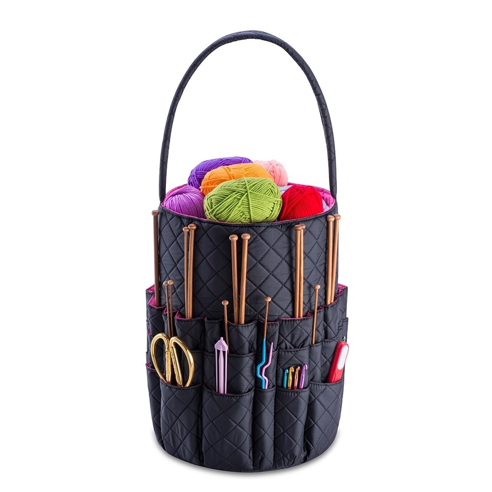MUA Limited DeNOA Knitting Sewing Scrap-Booking Accessory Tote Yarn Bag Black Canvas