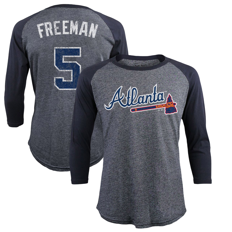 Freddie Freeman Atlanta Braves Majestic Threads Tri-Blend 3/4-Sleeve Raglan Name & Number T-Shirt - Navy
