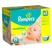 Pampers Swaddlers Diapers, Size Newborn, 128 Diapers