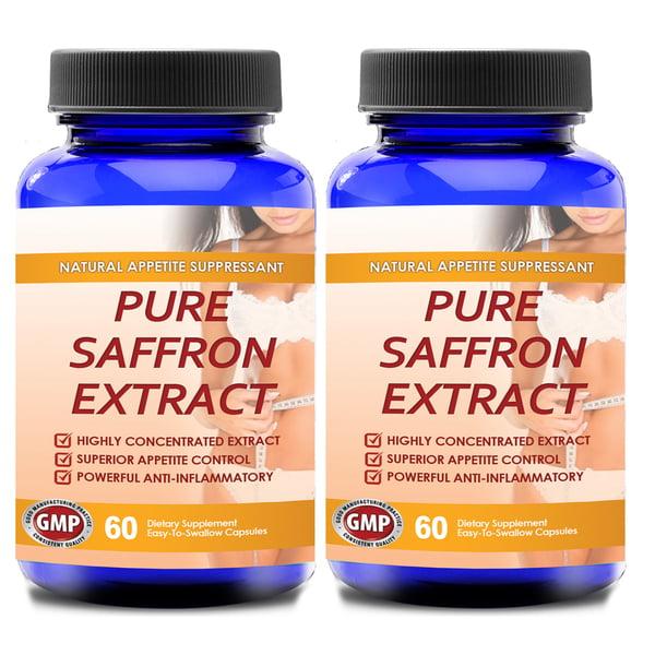 Pure Saffron Extract 100 Percent Non Gmo Bottle 120 Capsules