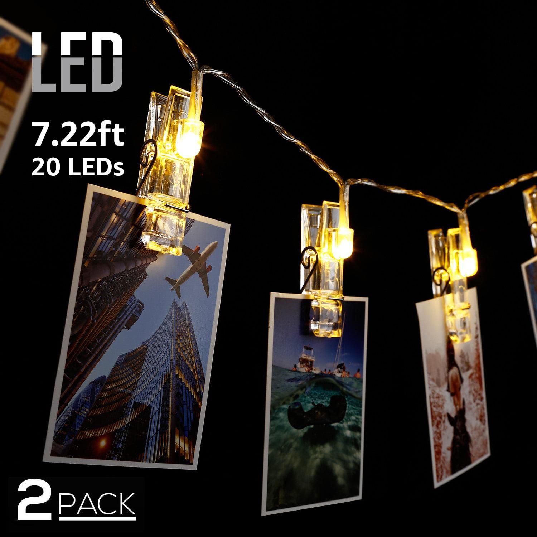 TORCHSTAR 2 Pack 7.22ft LED String Lights, 20 LEDs Photo Clip String Lights, Battery Powered String Lights