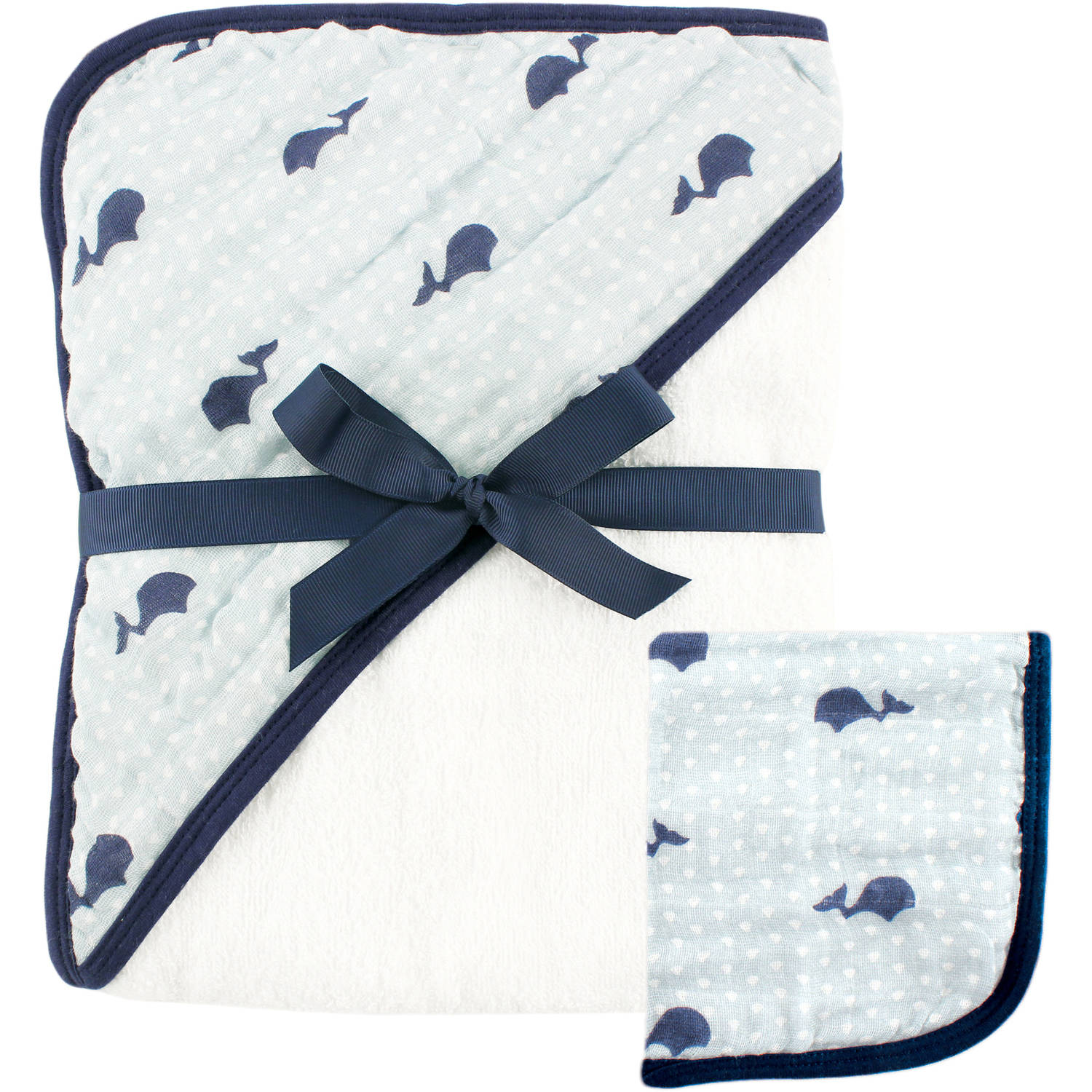 Hudson Baby Muslin Hooded Towel and Washcloth, Whale