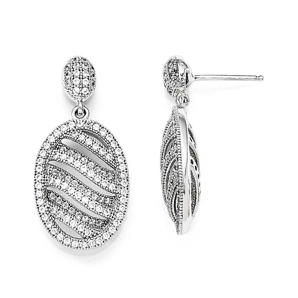Sterling Silver & CZ Brilliant Embers Polished Oval Post Earrings (0.9IN x 0.5IN )