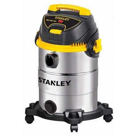 Stanley 4.5 Peak HP 6 Gallon Portable Stainless Steel Wet Dry Vac with Casters