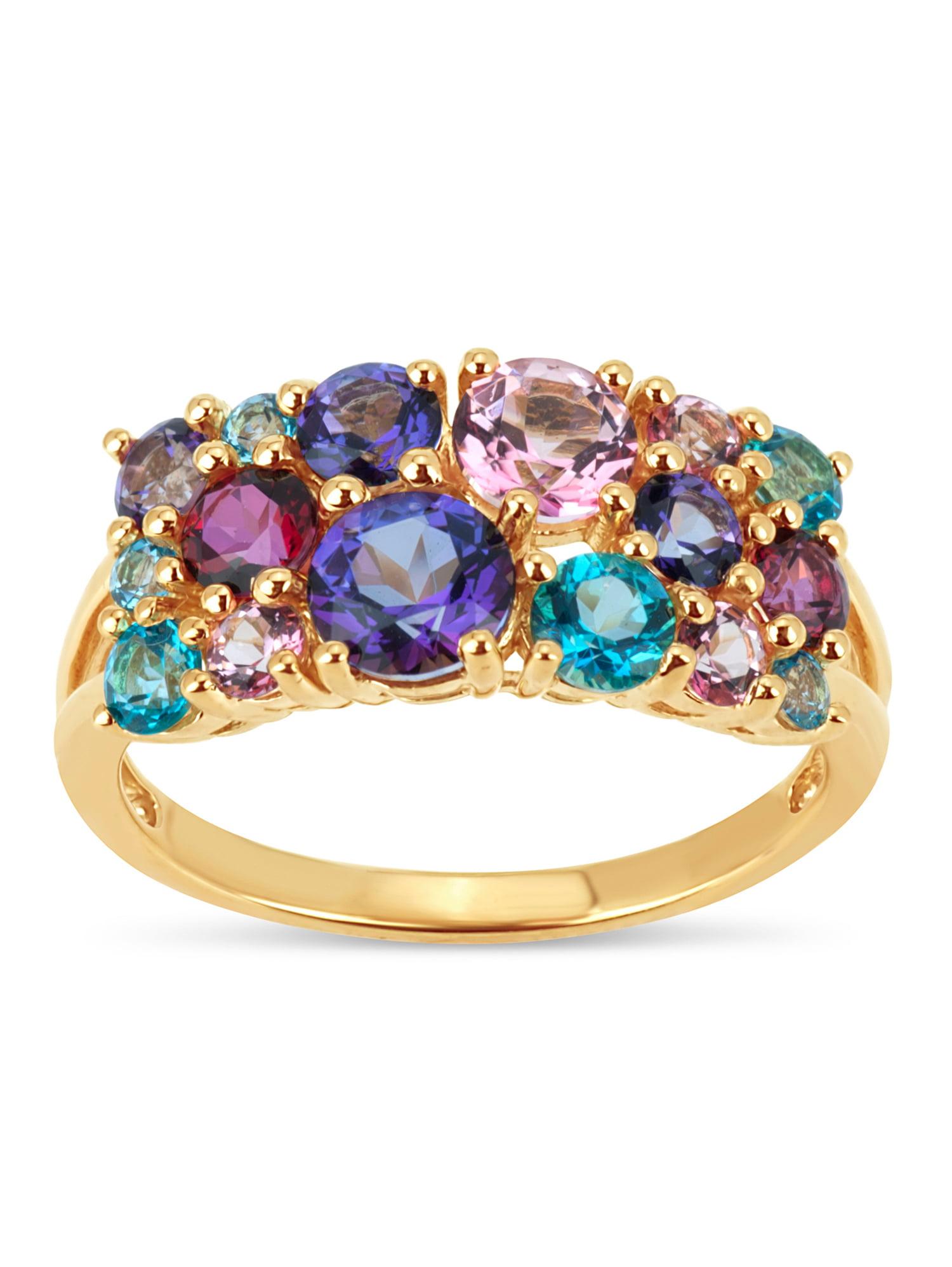 Multi Color Topaz Swarovski Genuine Gemstone 18kt Gold Over Sterling Silver Cluster Ring by Helen Andrews Inc.