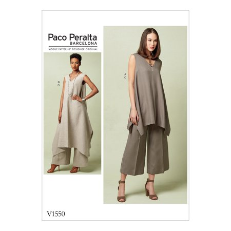 Vogue Patterns Sewing Pattern Misses' Pullover Tunic with Uneven Hem and Wide-Leg Pants-6-8-10-12-14