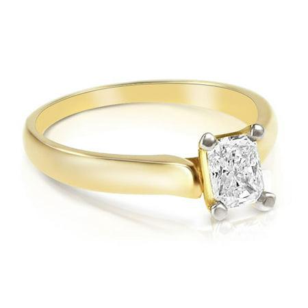 - 0.45CT Radiant Cut Diamond Solitaire Ring