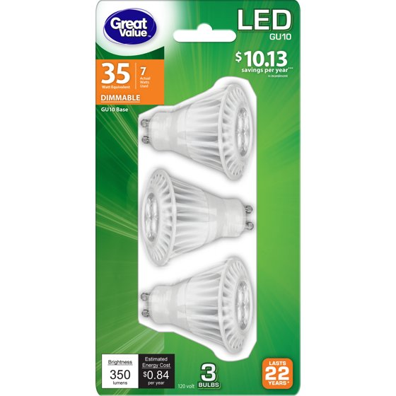 Great Value LED Dimmable Light Bulbs, 7 Watts, Soft White, 3-Pack ...