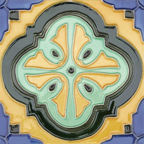 "Solistone Acapulco 6"" x 6"" Hand-Painted Ceramic Deco Wall Tile (Price per Case of 10)"